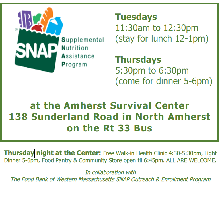 Food Stampsnap Assistance Available At The Amherst Survival Center